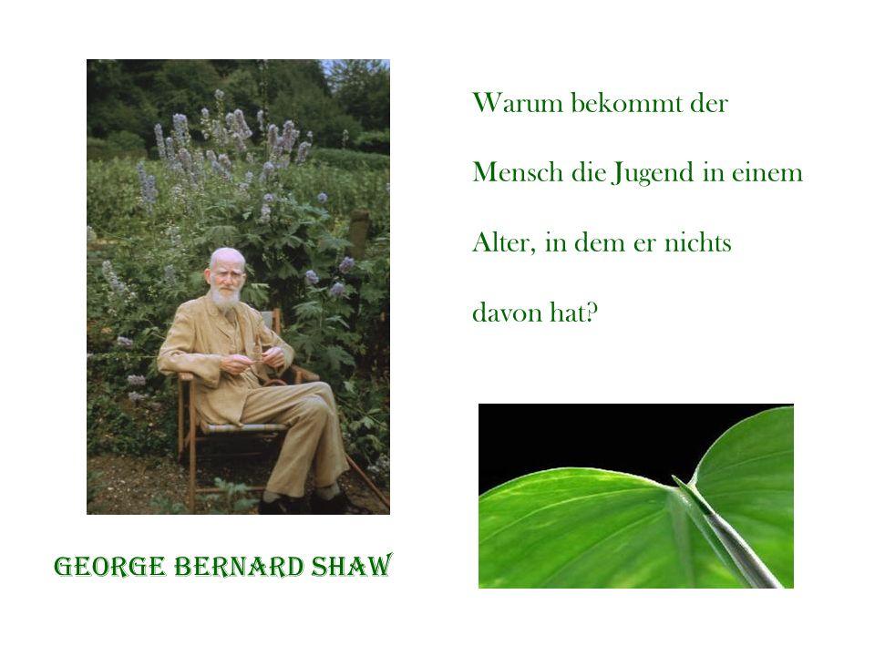 Warum bekommt der Mensch die Jugend in einem Alter, in dem er nichts davon hat? George bernard shaw