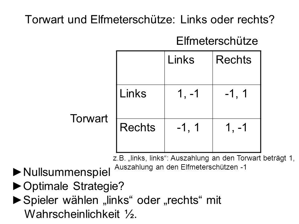 """Torwart und Elfmeterschütze: Links oder rechts? LinksRechts Links1, -1-1, 1 Rechts-1, 11, -1 Elfmeterschütze Torwart z.B. """"links, links"""": Auszahlung a"""