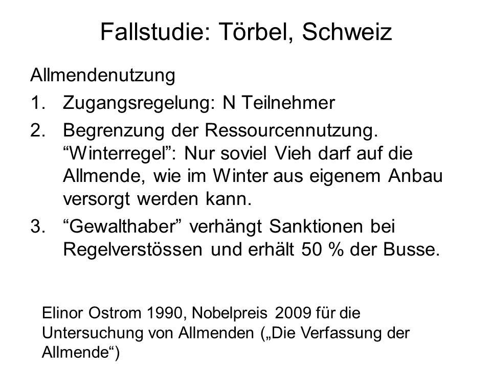 """Fallstudie: Törbel, Schweiz Allmendenutzung 1.Zugangsregelung: N Teilnehmer 2.Begrenzung der Ressourcennutzung. """"Winterregel"""": Nur soviel Vieh darf au"""