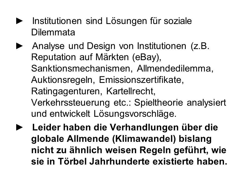 ► Institutionen sind Lösungen für soziale Dilemmata ► Analyse und Design von Institutionen (z.B. Reputation auf Märkten (eBay), Sanktionsmechanismen,