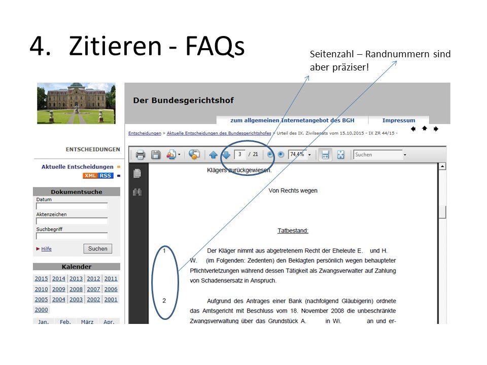 4.Zitieren - FAQs Seitenzahl – Randnummern sind aber präziser!