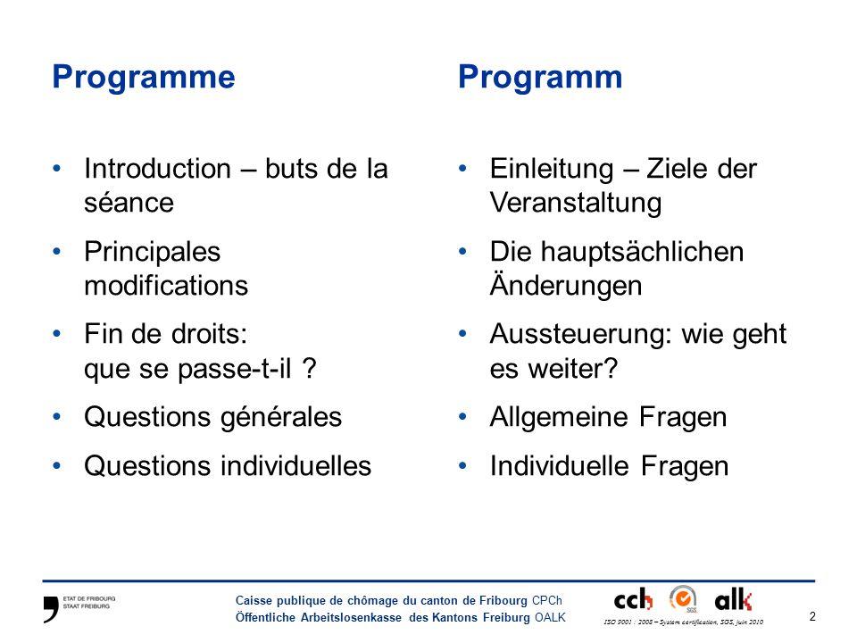 23 Caisse publique de chômage du canton de Fribourg CPCh Öffentliche Arbeitslosenkasse des Kantons Freiburg OALK ISO 9001 : 2008 – System certification, SGS, juin 2010 Fin de droits : que se passe-t-il .
