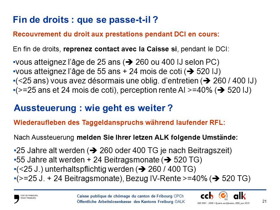 21 Caisse publique de chômage du canton de Fribourg CPCh Öffentliche Arbeitslosenkasse des Kantons Freiburg OALK ISO 9001 : 2008 – System certification, SGS, juin 2010 Fin de droits : que se passe-t-il .