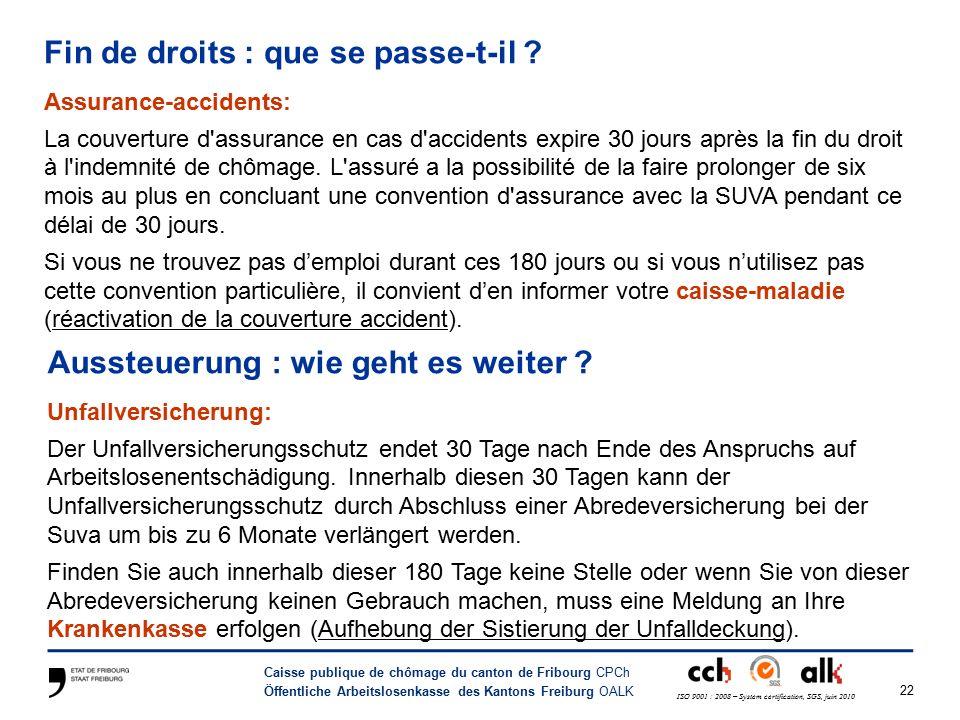 22 Caisse publique de chômage du canton de Fribourg CPCh Öffentliche Arbeitslosenkasse des Kantons Freiburg OALK ISO 9001 : 2008 – System certification, SGS, juin 2010 Fin de droits : que se passe-t-il .