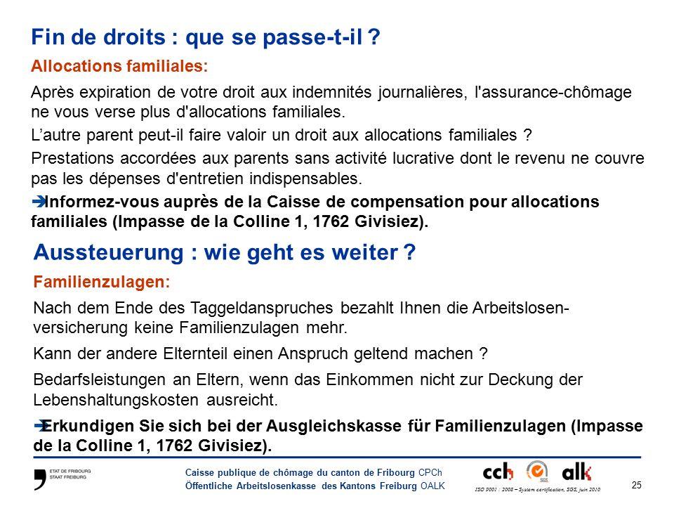 25 Caisse publique de chômage du canton de Fribourg CPCh Öffentliche Arbeitslosenkasse des Kantons Freiburg OALK ISO 9001 : 2008 – System certification, SGS, juin 2010 Fin de droits : que se passe-t-il .
