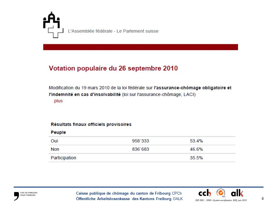 4 Caisse publique de chômage du canton de Fribourg CPCh Öffentliche Arbeitslosenkasse des Kantons Freiburg OALK ISO 9001 : 2008 – System certification, SGS, juin 2010