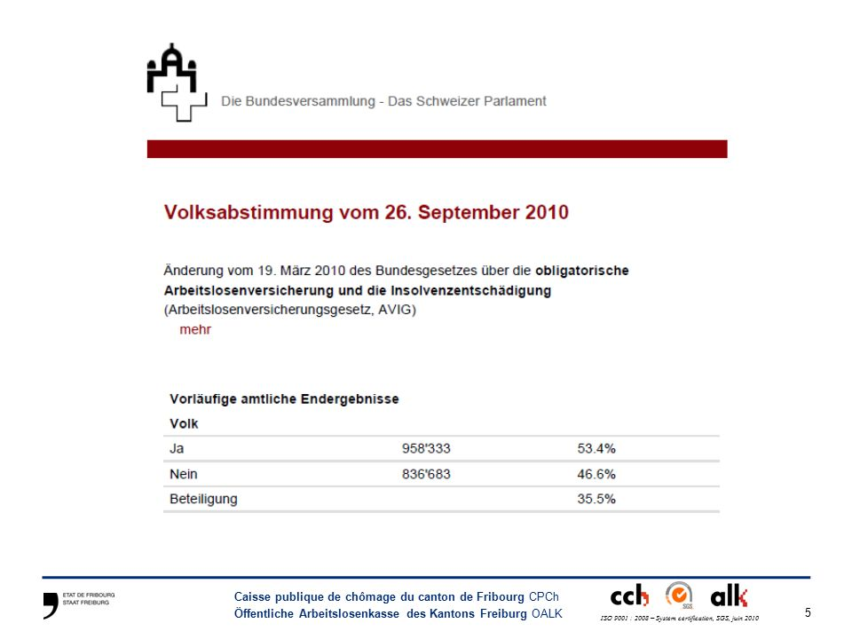 5 Caisse publique de chômage du canton de Fribourg CPCh Öffentliche Arbeitslosenkasse des Kantons Freiburg OALK ISO 9001 : 2008 – System certification, SGS, juin 2010