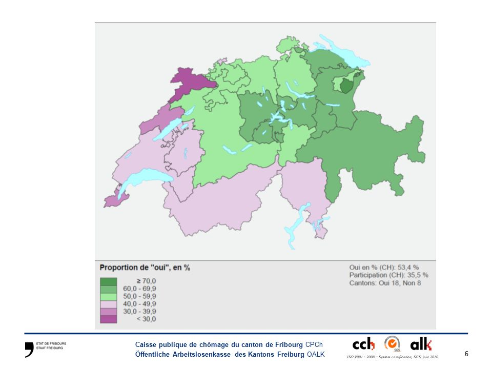 6 Caisse publique de chômage du canton de Fribourg CPCh Öffentliche Arbeitslosenkasse des Kantons Freiburg OALK ISO 9001 : 2008 – System certification, SGS, juin 2010