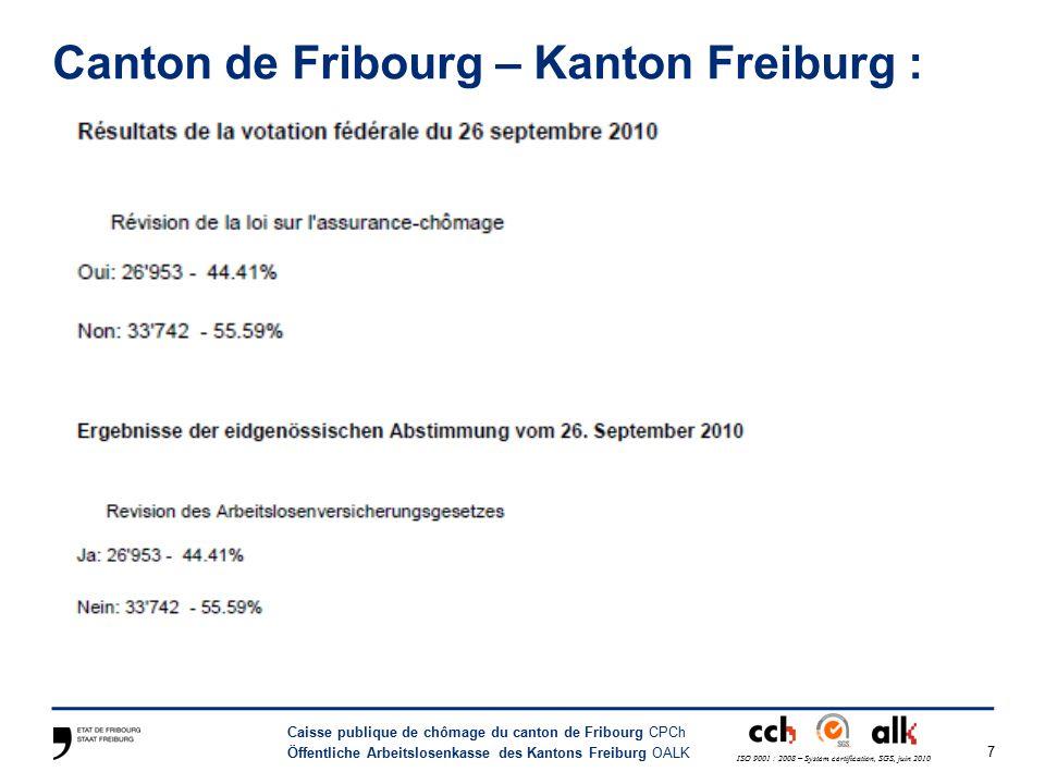 7 Caisse publique de chômage du canton de Fribourg CPCh Öffentliche Arbeitslosenkasse des Kantons Freiburg OALK ISO 9001 : 2008 – System certification, SGS, juin 2010 Canton de Fribourg – Kanton Freiburg :