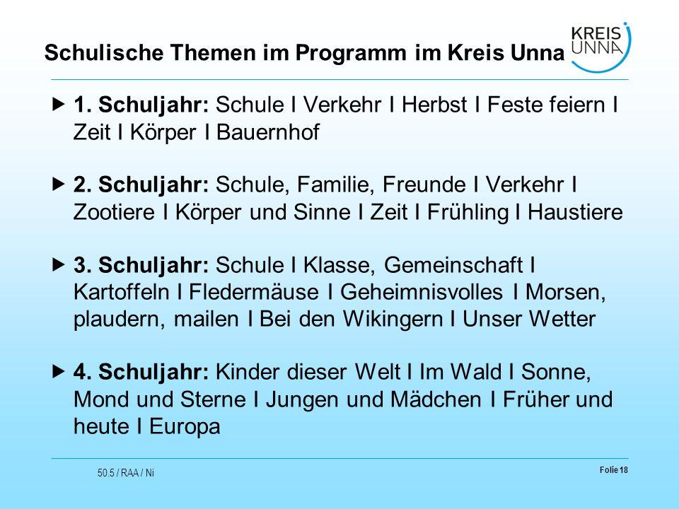 Schulische Themen im Programm im Kreis Unna  1.