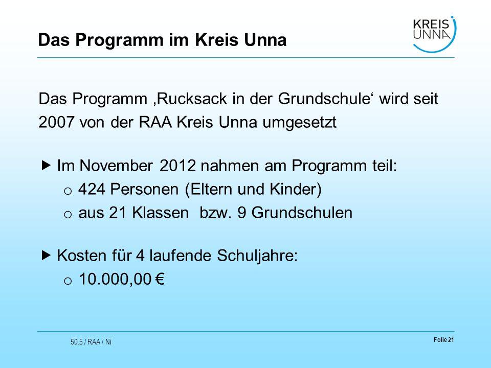 Das Programm im Kreis Unna Das Programm 'Rucksack in der Grundschule' wird seit 2007 von der RAA Kreis Unna umgesetzt  Im November 2012 nahmen am Programm teil: o 424 Personen (Eltern und Kinder) o aus 21 Klassen bzw.