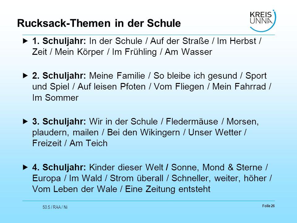 Rucksack-Themen in der Schule  1. Schuljahr: In der Schule / Auf der Straße / Im Herbst / Zeit / Mein Körper / Im Frühling / Am Wasser  2. Schuljahr