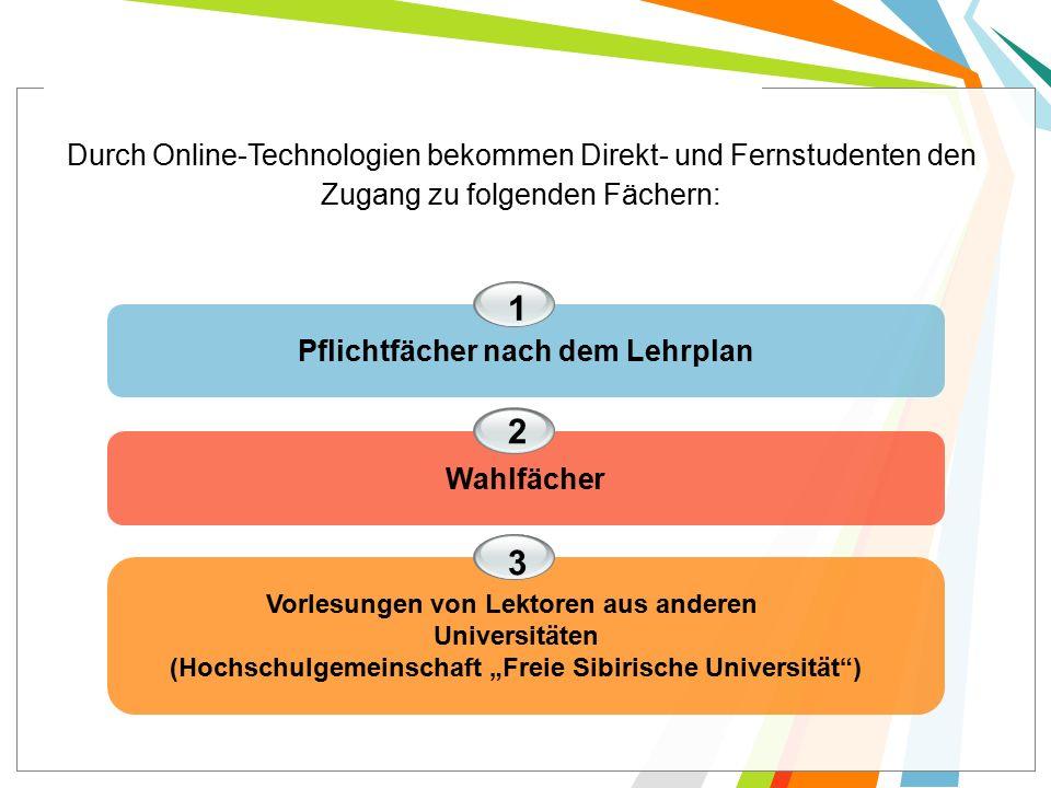 """Pflichtfächer nach dem Lehrplan Wahlfächer 1 2 3 Durch Online-Technologien bekommen Direkt- und Fernstudenten den Zugang zu folgenden Fächern: Vorlesungen von Lektoren aus anderen Universitäten (Hochschulgemeinschaft """"Freie Sibirische Universität )"""