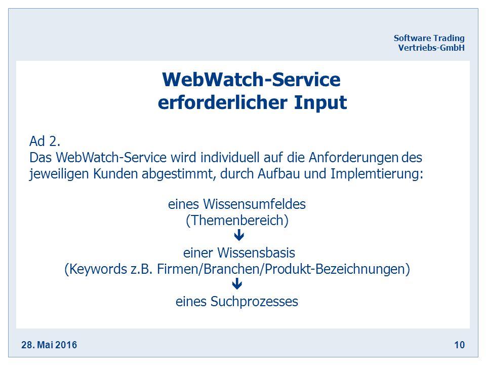 28. Mai 201610 Software Trading Vertriebs-GmbH WebWatch-Service erforderlicher Input Ad 2.