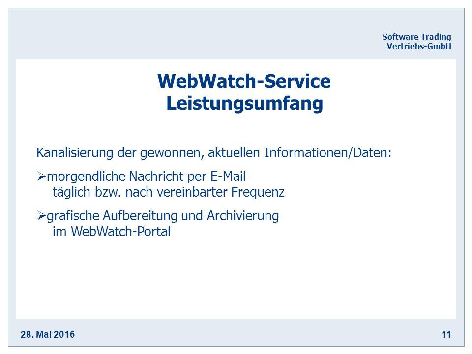28. Mai 201611 Software Trading Vertriebs-GmbH WebWatch-Service Leistungsumfang Kanalisierung der gewonnen, aktuellen Informationen/Daten:  morgendli
