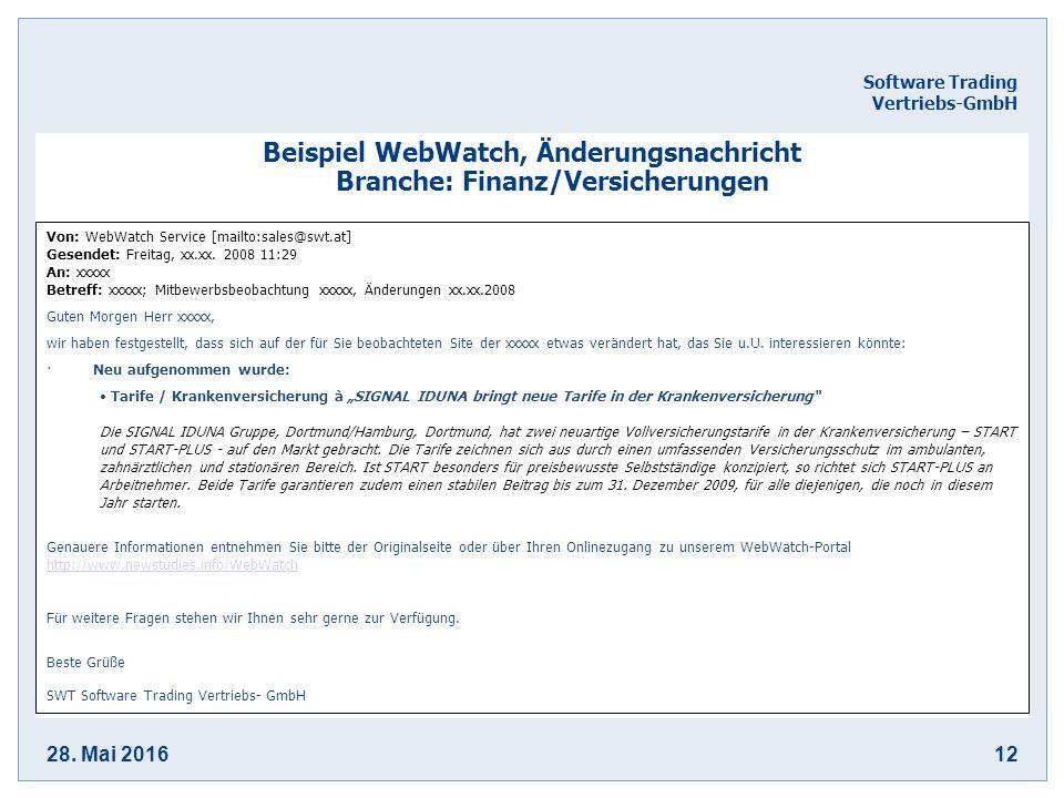 28. Mai 201612 Software Trading Vertriebs-GmbH Beispiel WebWatch, Änderungsnachricht Branche: Finanz/Versicherungen Von: WebWatch Service [mailto:sale
