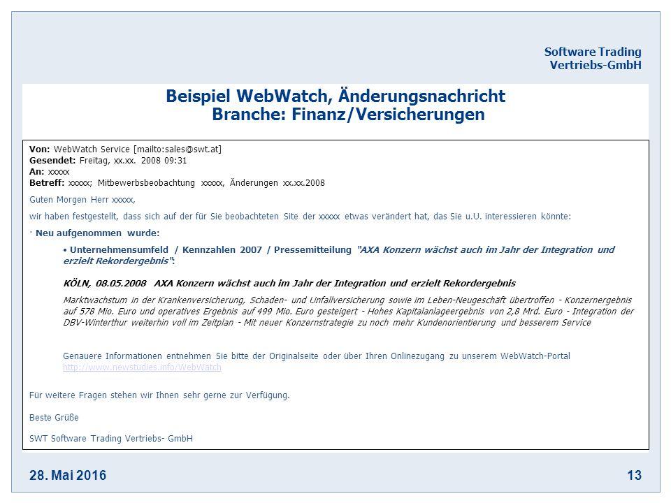 28. Mai 201613 Software Trading Vertriebs-GmbH Beispiel WebWatch, Änderungsnachricht Branche: Finanz/Versicherungen Von: WebWatch Service [mailto:sale