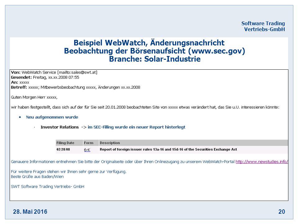 28. Mai 201620 Software Trading Vertriebs-GmbH Beispiel WebWatch, Änderungsnachricht Beobachtung der Börsenaufsicht (www.sec.gov) Branche: Solar-Indus