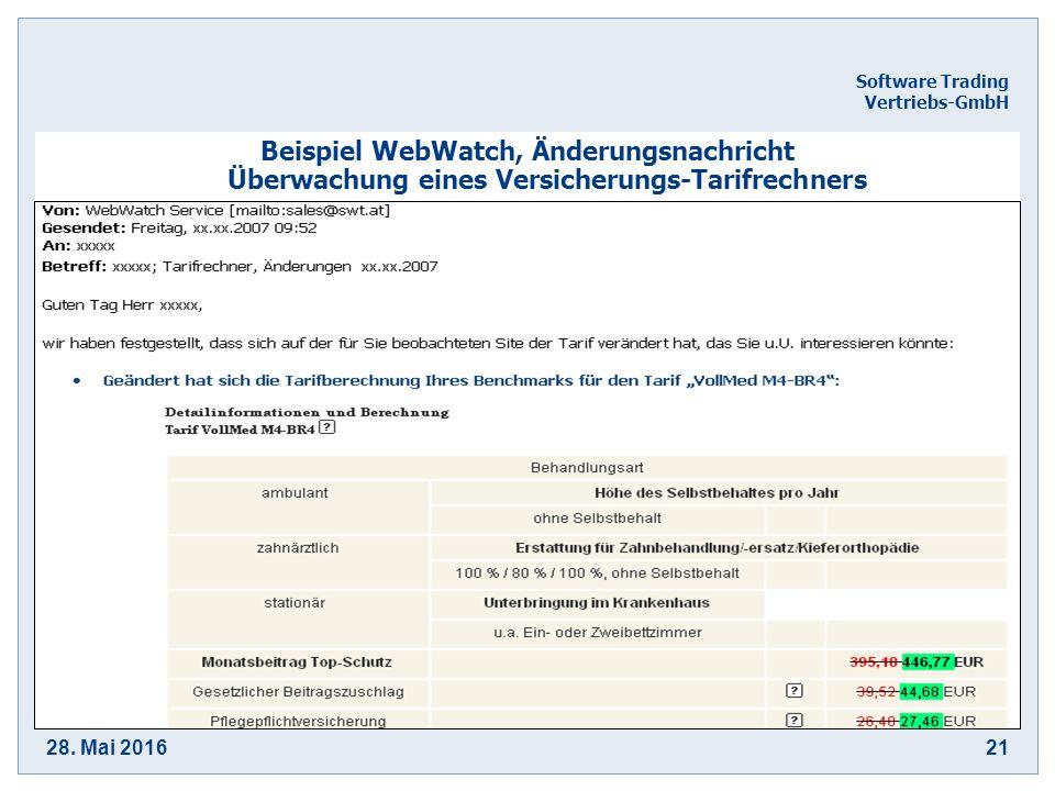 28. Mai 201621 Software Trading Vertriebs-GmbH Beispiel WebWatch, Änderungsnachricht Überwachung eines Versicherungs-Tarifrechners