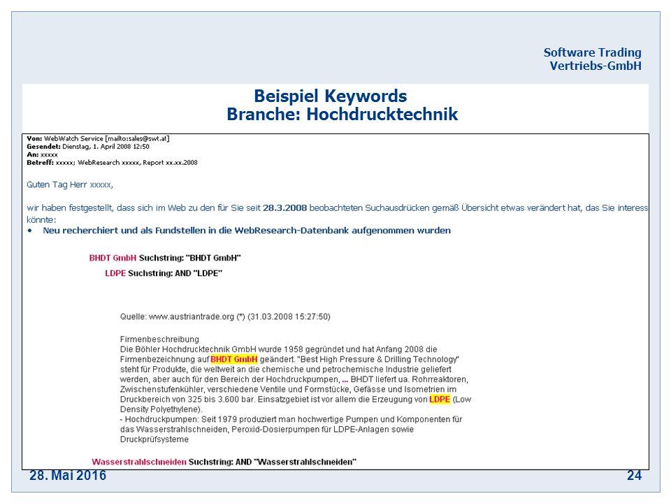 28. Mai 201624 Software Trading Vertriebs-GmbH Beispiel Keywords Branche: Hochdrucktechnik