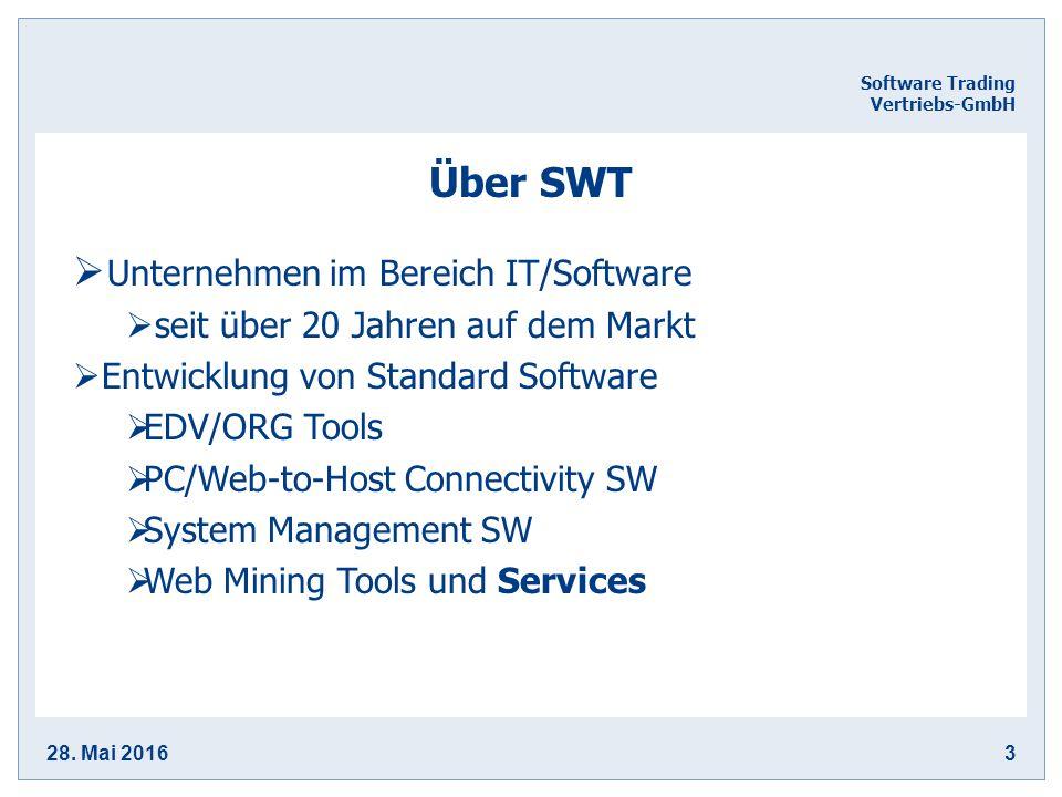 28. Mai 20163 Software Trading Vertriebs-GmbH Über SWT  Unternehmen im Bereich IT/Software  seit über 20 Jahren auf dem Markt  Entwicklung von Stan