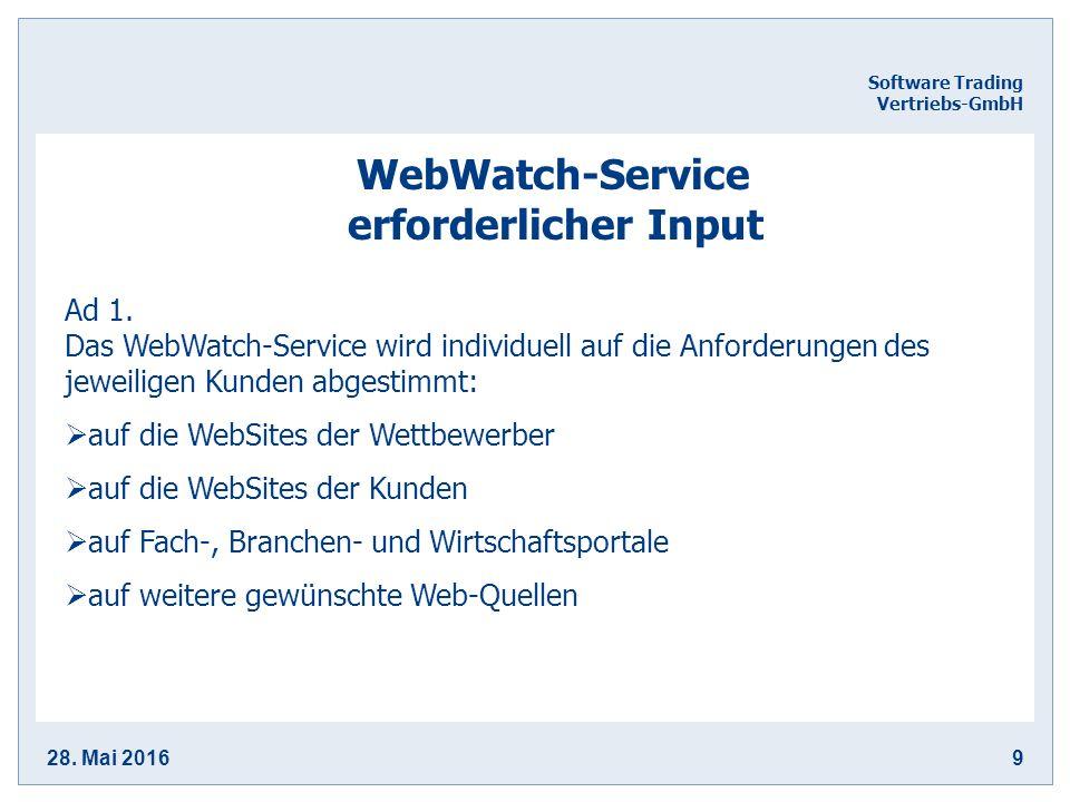 28. Mai 20169 Software Trading Vertriebs-GmbH WebWatch-Service erforderlicher Input Ad 1.