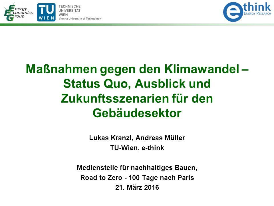 Maßnahmen gegen den Klimawandel – Status Quo, Ausblick und Zukunftsszenarien für den Gebäudesektor Lukas Kranzl, Andreas Müller TU-Wien, e-think Medie