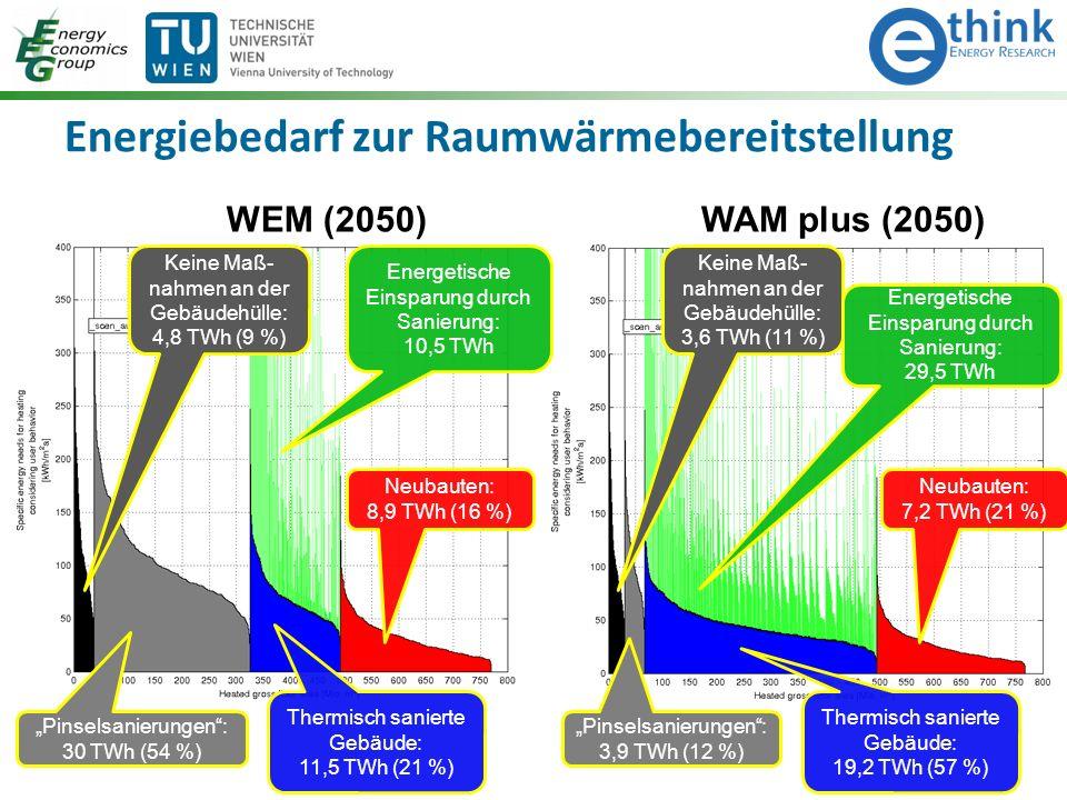 """Energiebedarf zur Raumwärmebereitstellung WEM (2050) Keine Maß- nahmen an der Gebäudehülle: 4,8 TWh (9 %) """"Pinselsanierungen : 30 TWh (54 %) Thermisch sanierte Gebäude: 11,5 TWh (21 %) Energetische Einsparung durch Sanierung: 10,5 TWh Neubauten: 8,9 TWh (16 %) WAM plus (2050) Keine Maß- nahmen an der Gebäudehülle: 3,6 TWh (11 %) """"Pinselsanierungen : 3,9 TWh (12 %) Thermisch sanierte Gebäude: 19,2 TWh (57 %) Energetische Einsparung durch Sanierung: 29,5 TWh Neubauten: 7,2 TWh (21 %)"""
