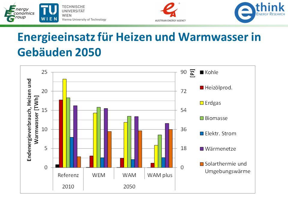 Energieeinsatz für Heizen und Warmwasser in Gebäuden 2050