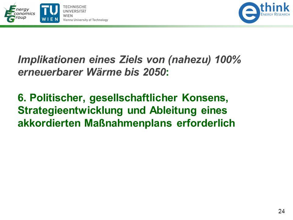 Implikationen eines Ziels von (nahezu) 100% erneuerbarer Wärme bis 2050: 6. Politischer, gesellschaftlicher Konsens, Strategieentwicklung und Ableitun