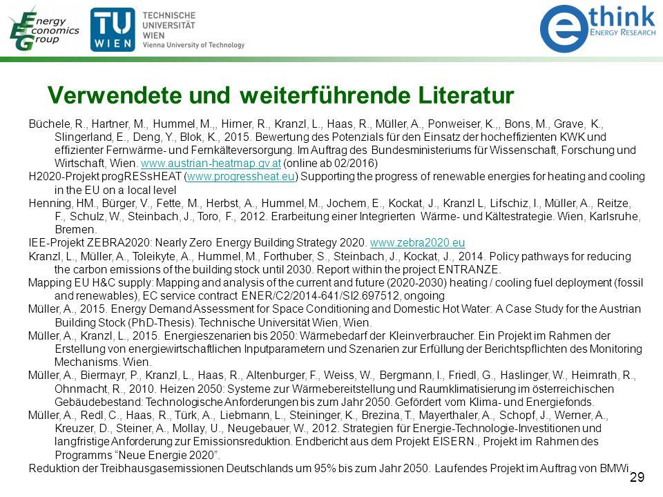 29 Verwendete und weiterführende Literatur Büchele, R., Hartner, M., Hummel, M.,, Hirner, R., Kranzl, L., Haas, R., Müller, A., Ponweiser, K.,, Bons, M., Grave, K., Slingerland, E., Deng, Y., Blok, K., 2015.