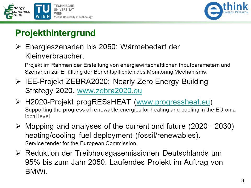 Projekthintergrund  Energieszenarien bis 2050: Wärmebedarf der Kleinverbraucher. Projekt im Rahmen der Erstellung von energiewirtschaftlichen Inputpa