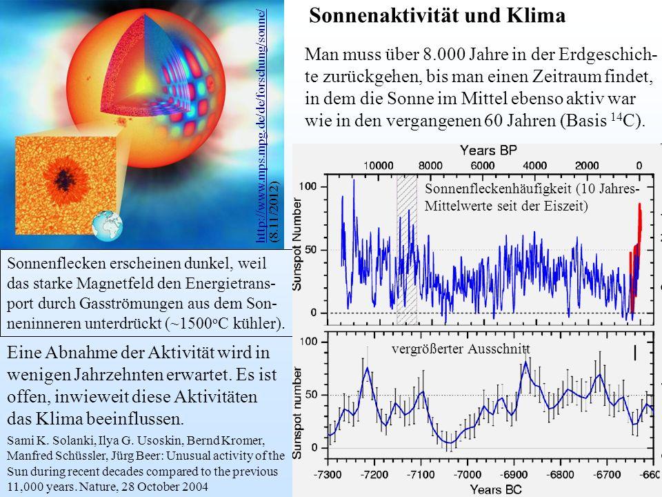 Sonnenflecken erscheinen dunkel, weil das starke Magnetfeld den Energietrans- port durch Gasströmungen aus dem Son- neninneren unterdrückt (~1500 o C kühler).