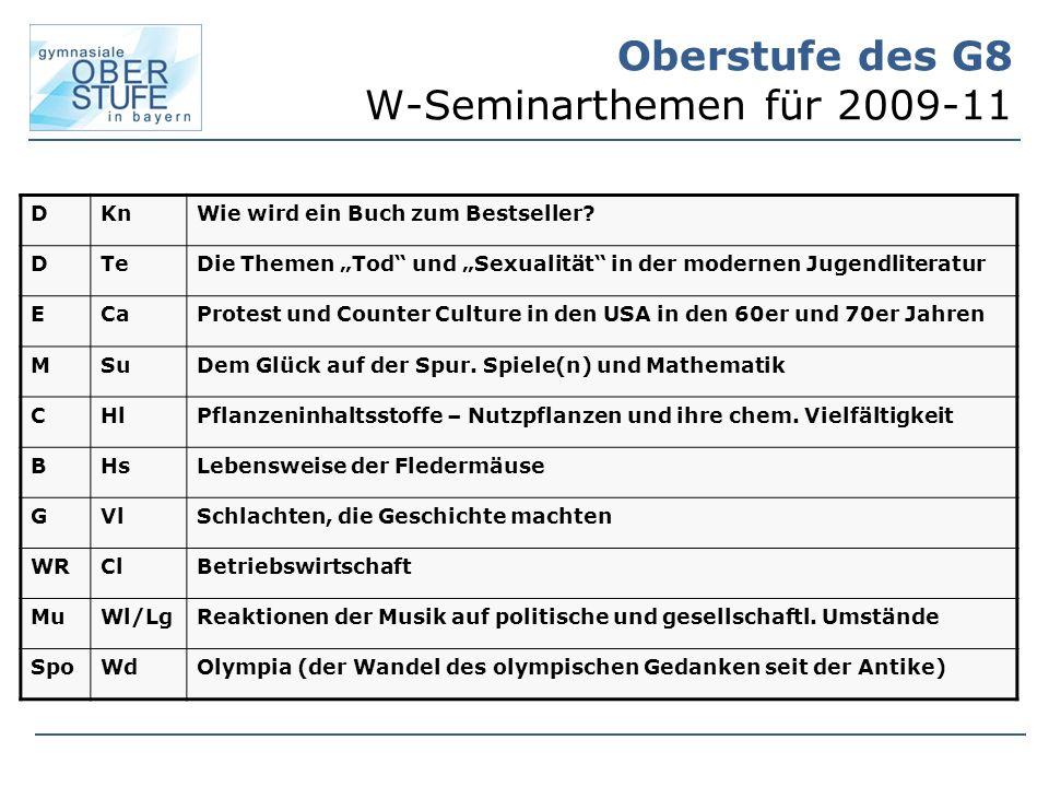 Oberstufe des G8 W-Seminarthemen für 2009-11 DKnWie wird ein Buch zum Bestseller.