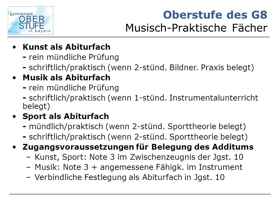 Oberstufe des G8 Musisch-Praktische Fächer Kunst als Abiturfach - rein mündliche Prüfung - schriftlich/praktisch (wenn 2-stünd.