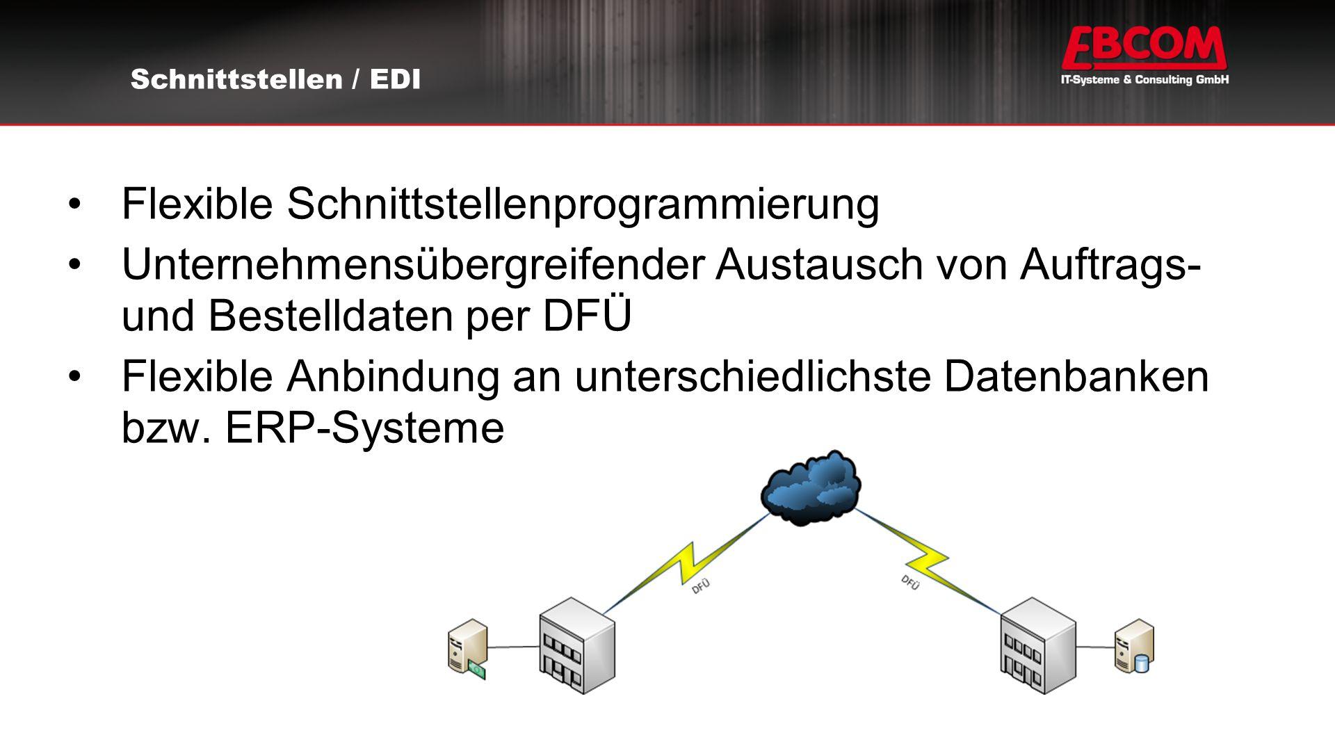 Flexible Schnittstellenprogrammierung Unternehmensübergreifender Austausch von Auftrags- und Bestelldaten per DFÜ Flexible Anbindung an unterschiedlichste Datenbanken bzw.