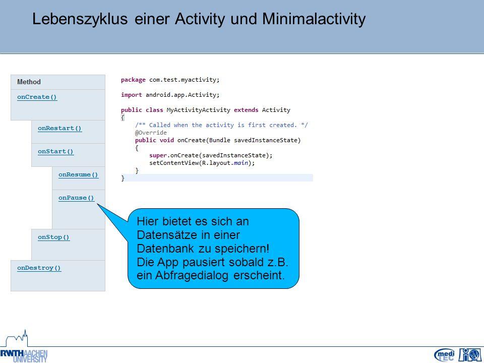Lebenszyklus einer Activity und Minimalactivity Hier bietet es sich an Datensätze in einer Datenbank zu speichern.