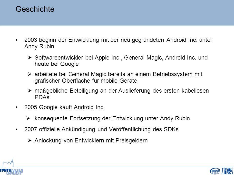 Geschichte 2003 beginn der Entwicklung mit der neu gegründeten Android Inc. unter Andy Rubin  Softwareentwickler bei Apple Inc., General Magic, Andro