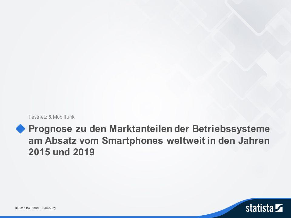 Prognose zu den Marktanteilen der Betriebssysteme am Absatz vom Smartphones weltweit in den Jahren 2015 und 2019 Festnetz & Mobilfunk © Statista GmbH, Hamburg