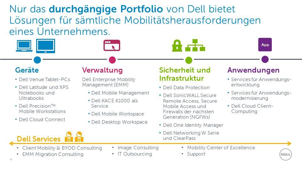 4 Nur das durchgängige Portfolio von Dell bietet Lösungen für sämtliche Mobilitätsherausforderungen eines Unternehmens.