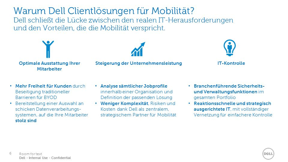 6 Services Room for text Dell - Internal Use - Confidential Warum Dell Clientlösungen für Mobilität.