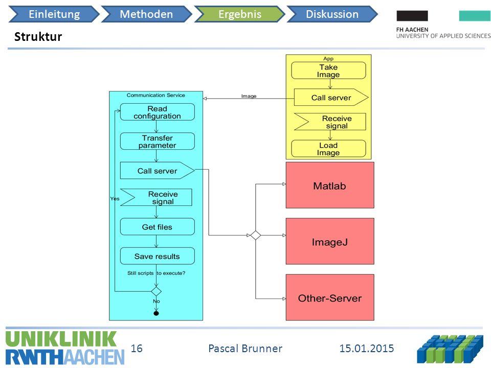 EinleitungMethodenErgebnisDiskussion 15.01.2015 16 Pascal Brunner Struktur