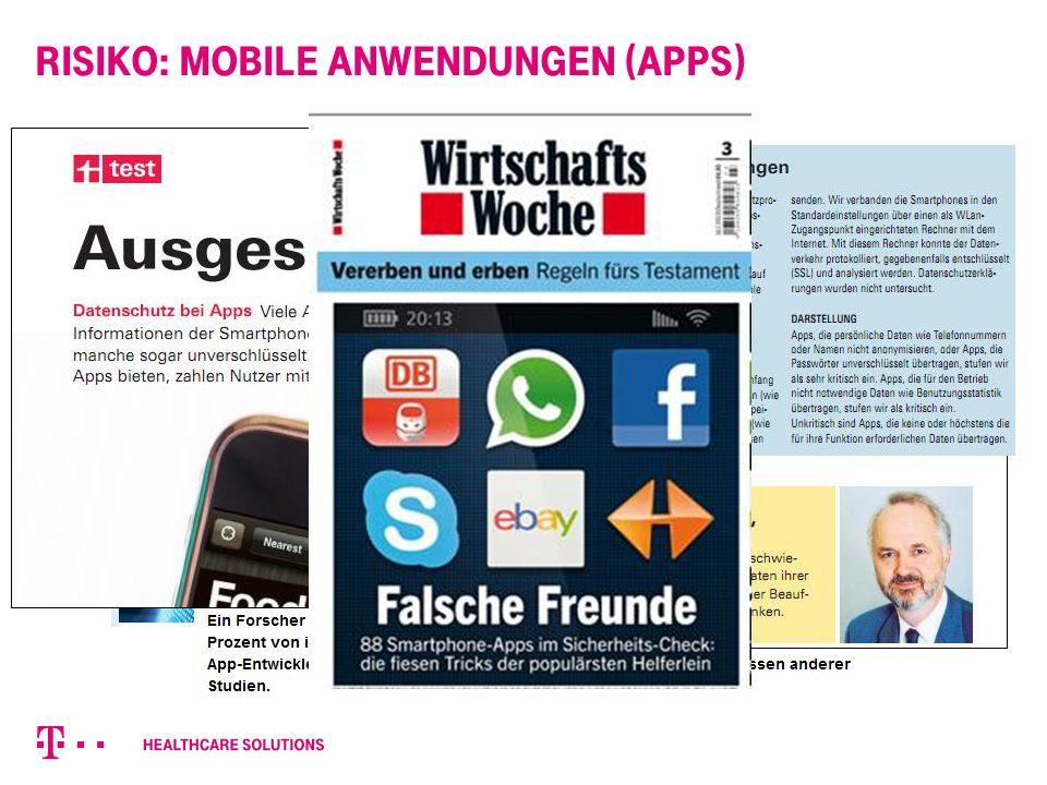 Risiko: Mobile Anwendungen (Apps) Quelle: Stiftung Warentest, 6/2012