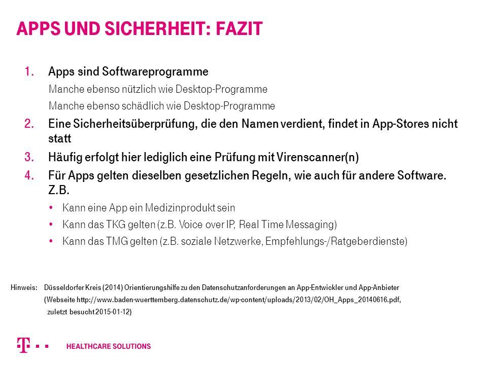 Apps und Sicherheit: Fazit 1.