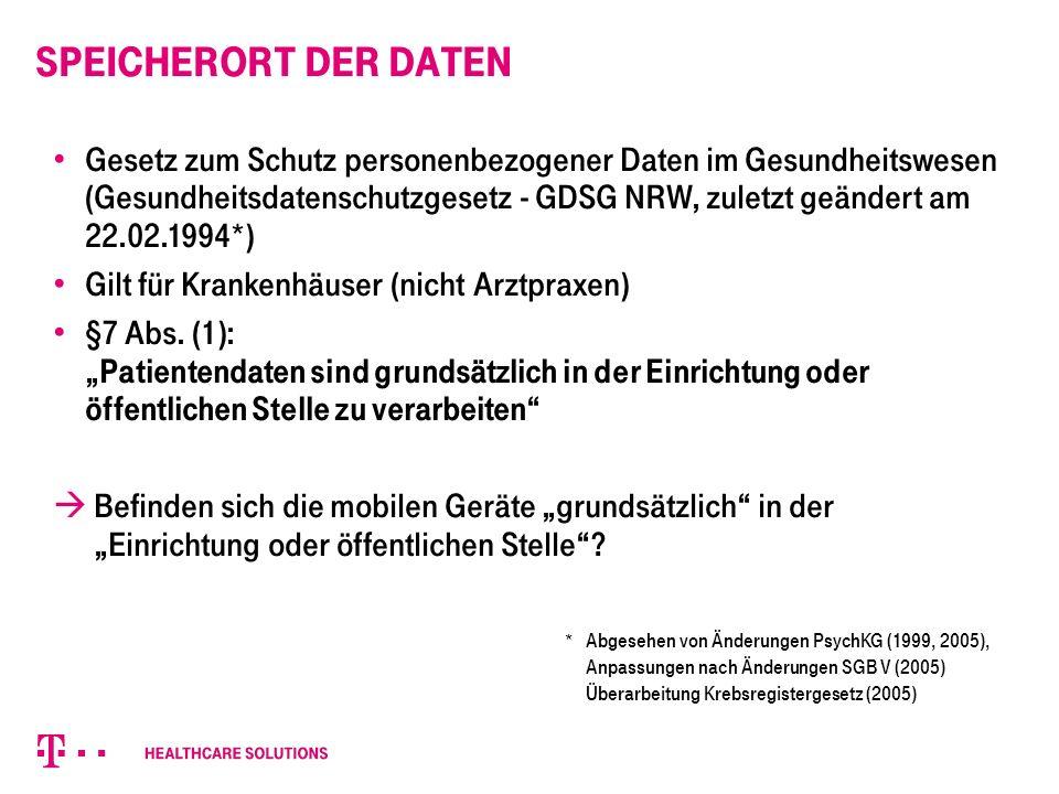 Speicherort der Daten Gesetz zum Schutz personenbezogener Daten im Gesundheitswesen (Gesundheitsdatenschutzgesetz - GDSG NRW, zuletzt geändert am 22.02.1994*) Gilt für Krankenhäuser (nicht Arztpraxen) §7 Abs.