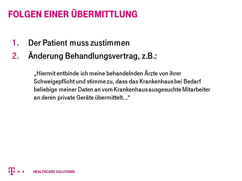 Folgen einer Übermittlung 1. Der Patient muss zustimmen 2.