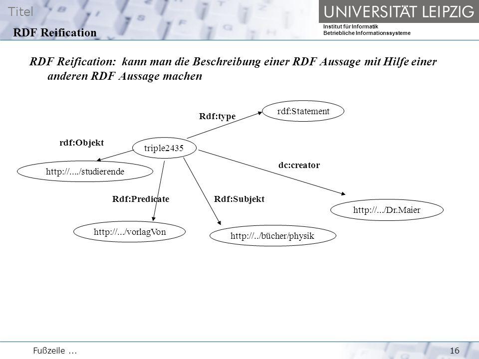 Titel Institut für Informatik Betriebliche Informationssysteme Fußzeile...16 RDF Reification RDF Reification: kann man die Beschreibung einer RDF Aussage mit Hilfe einer anderen RDF Aussage machen triple2435 rdf:Statement http://..../studierende http://../bücher/physik http://.../Dr.Maier Rdf:type dc:creator Rdf:Subjekt http://.../vorlagVon Rdf:Predicate rdf:Objekt