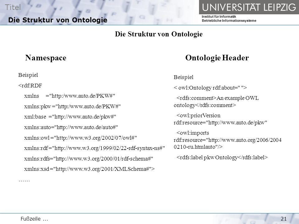 Titel Institut für Informatik Betriebliche Informationssysteme Fußzeile...21 Die Struktur von Ontologie Beispiel <rdf:RDF xmlns = http:/www.auto.de/PKW# xmlns:pkw = http:/www.auto.de/PKW# xml:base = http://www.auto.de/pkw# xmlns:auto= http://www.auto.de/auto# xmlns:owl = http://www.w3.org/2002/07/owl# xmlns:rdf = http://www.w3.org/1999/02/22-rdf-syntax-ns# xmlns:rdfs= http://www.w3.org/2000/01/rdf-schema# xmlns:xsd = http://www.w3.org/2001/XMLSchema# > …… Namespace Beispiel An example OWL ontology <owl:priorVersion rdf:resource= http://www.auto.de/pkw Ontologie Header