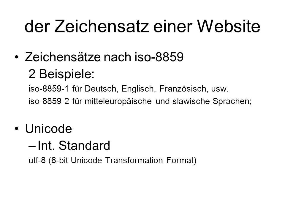 der Zeichensatz einer Website Zeichensätze nach iso-8859 2 Beispiele: iso-8859-1 für Deutsch, Englisch, Französisch, usw.