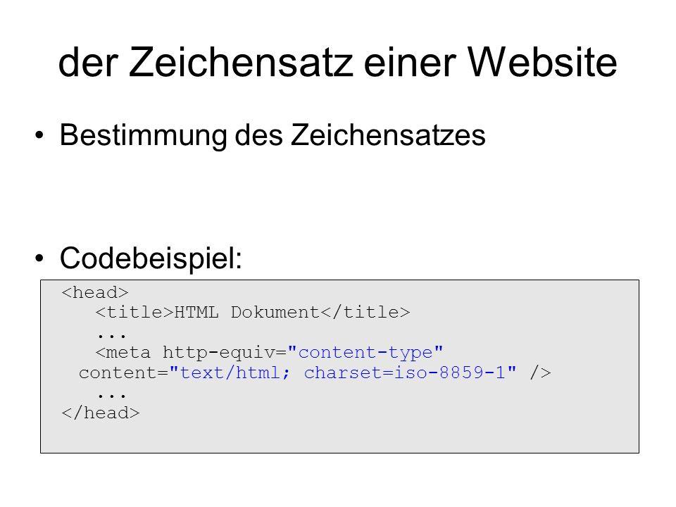 der Zeichensatz einer Website HTML Dokument...... Bestimmung des Zeichensatzes Codebeispiel: